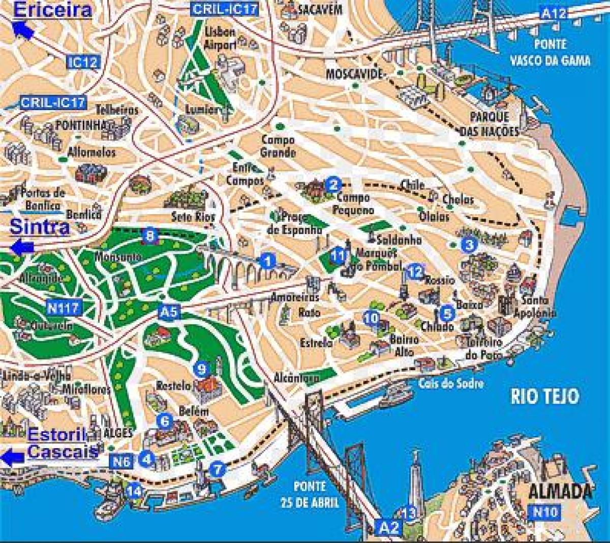 Lisabonska Hledisek Mapa Mapa Lisabonu Hledisek Portugalsko