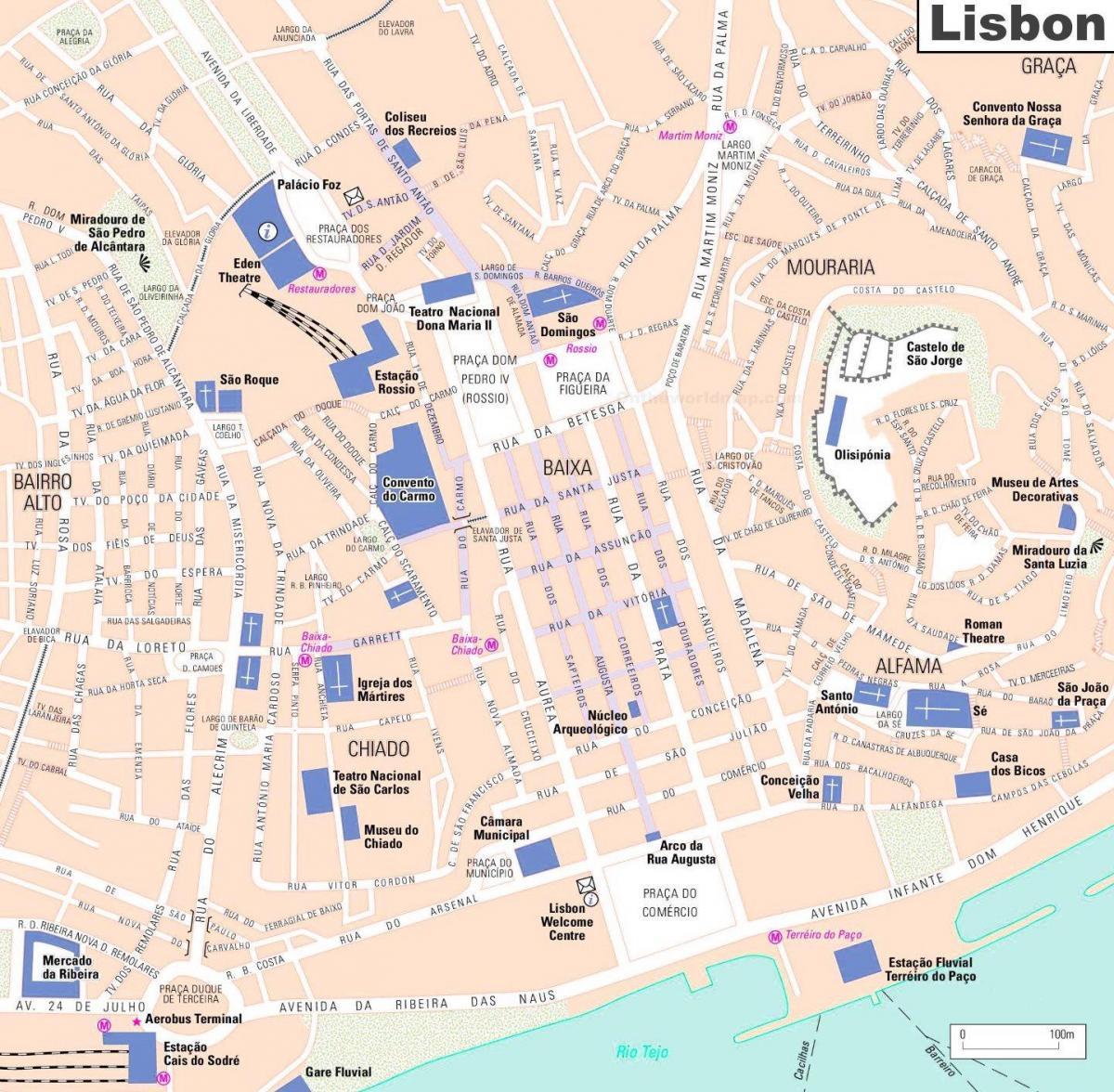 Lisabonske Stare Mesto Mapa Mapa Lisabonska Stare Mesto